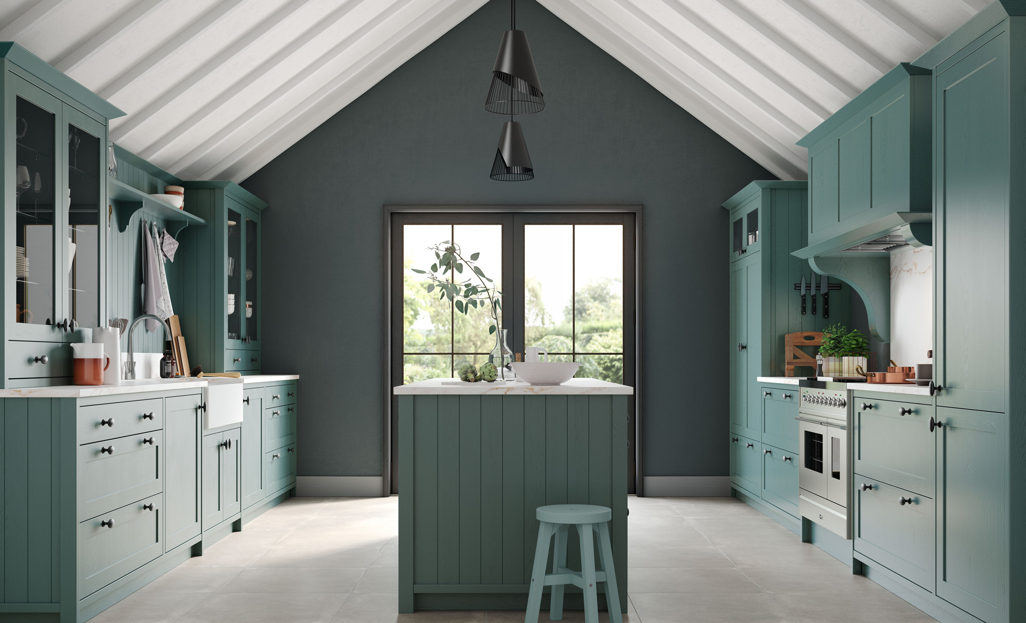 Traditional Classic Country Aldana Shaker Kitchen in Painted Viridian