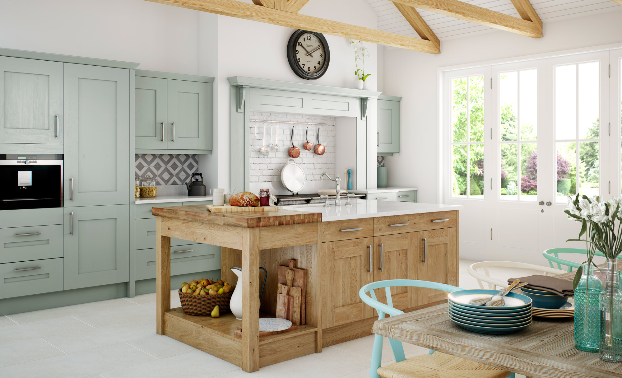 Traditional Country Clonmel Knotty Oak Kitchen with Painted Powder Blue