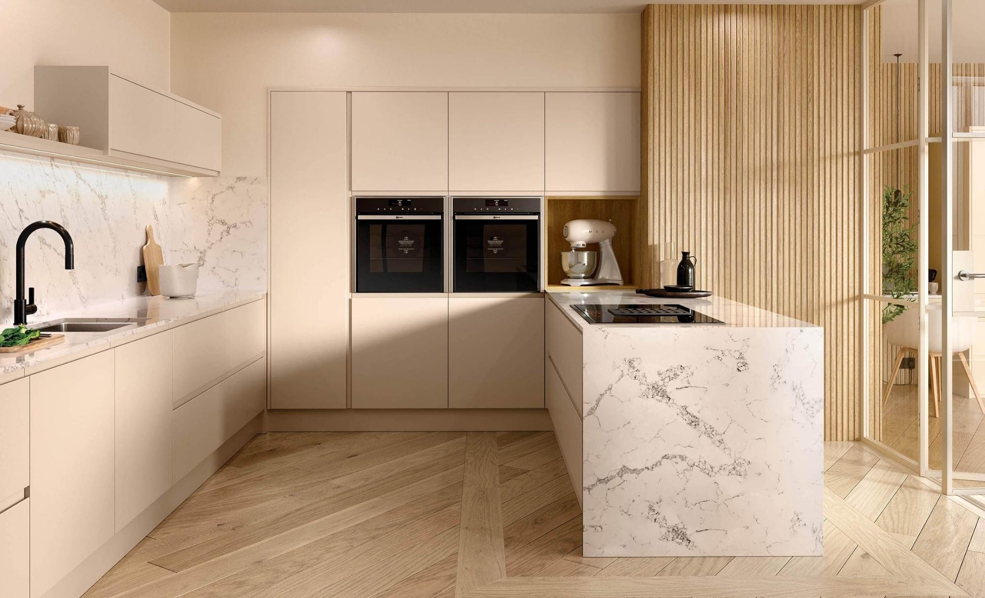 Modern Open Plan Strada Matte Cashmere Kitchen Hero
