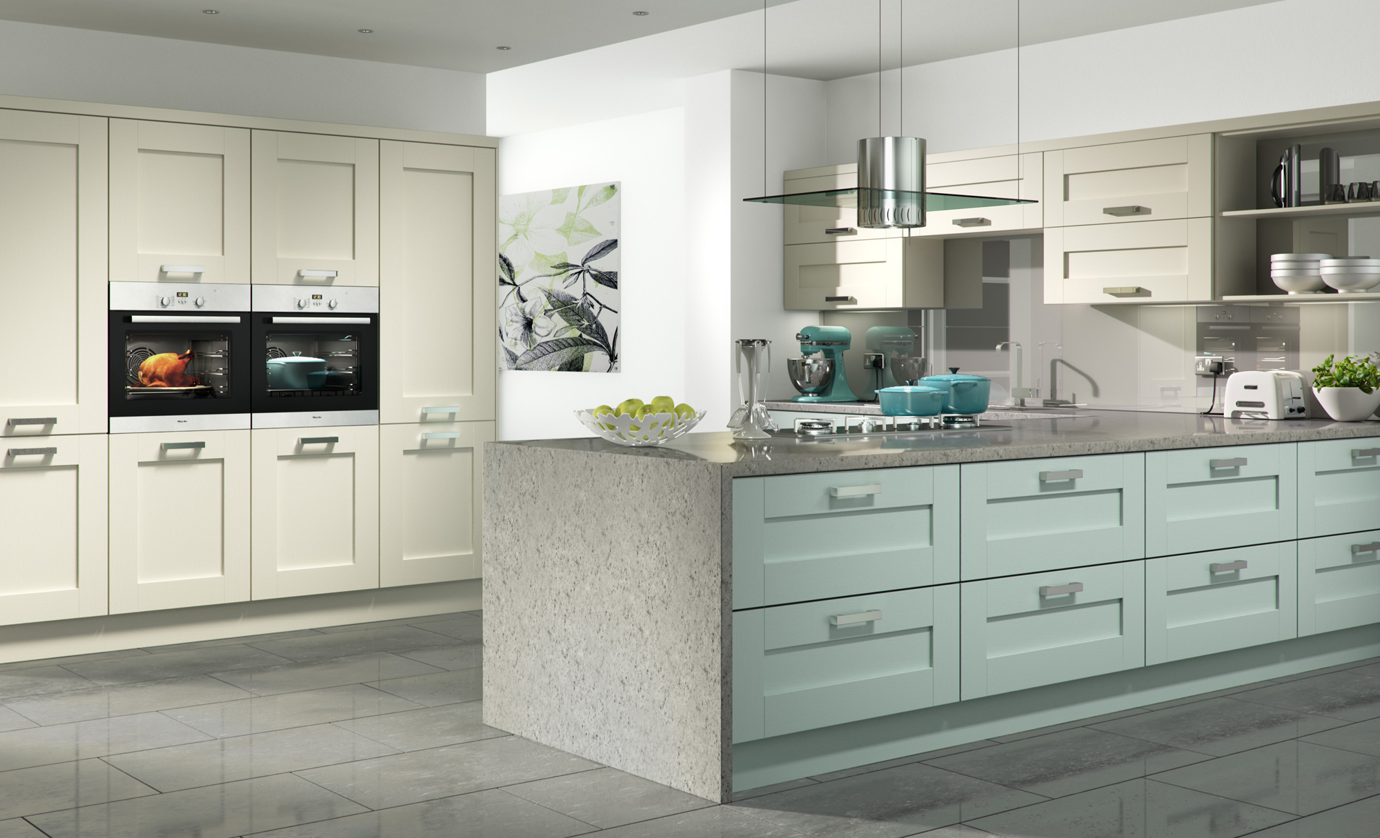 Contemporary Modern Windsor Shaker Painted Kitchen in Ivory & Light Blue