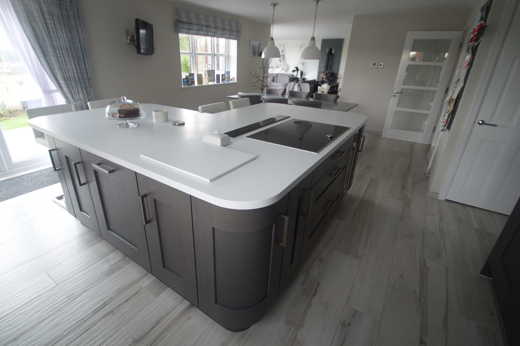 Clonmel Anthracite Kitchen Island Featuring Curved Doors, Project by Elite Kitchens of Manchester