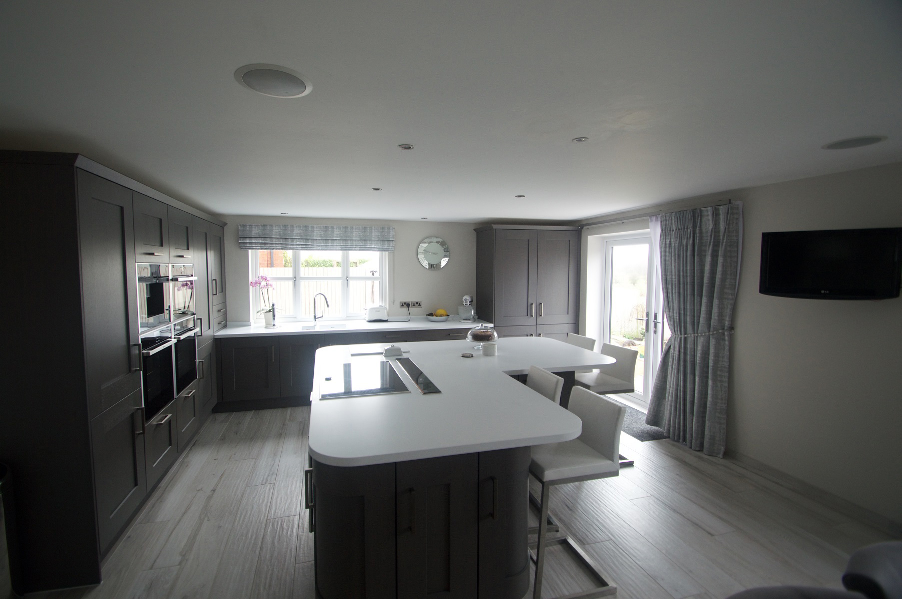 Clonmel Kitchen in Stained Anthracite Featuring Large Island Unit, Designed by Elite Kitchens of Manchester