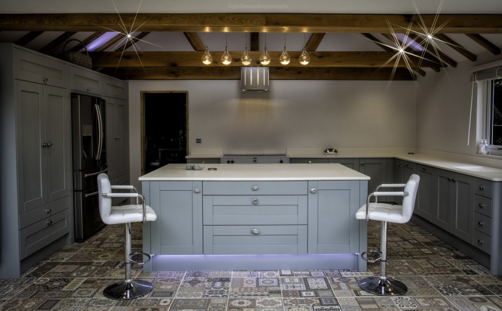 Madison Painted Light Blue Central Island Unit by Newrooms Design