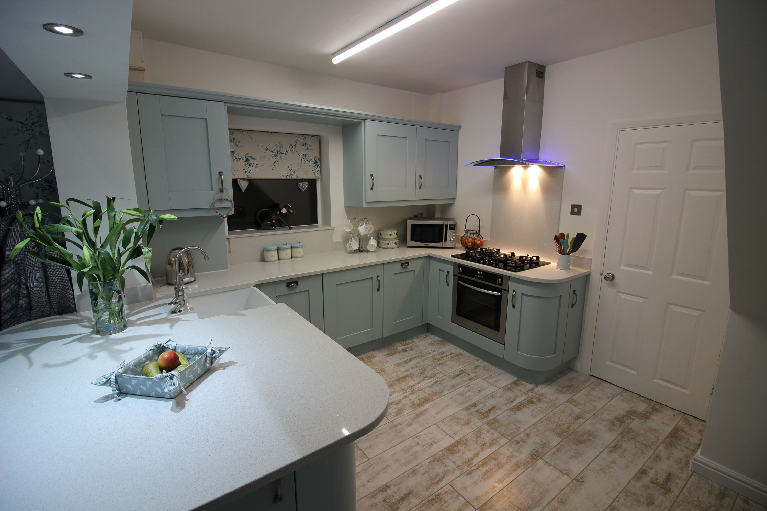 Shabby Chic Style Kitchen Featuring the Windsor Shaker Range in Painted Powder Blue