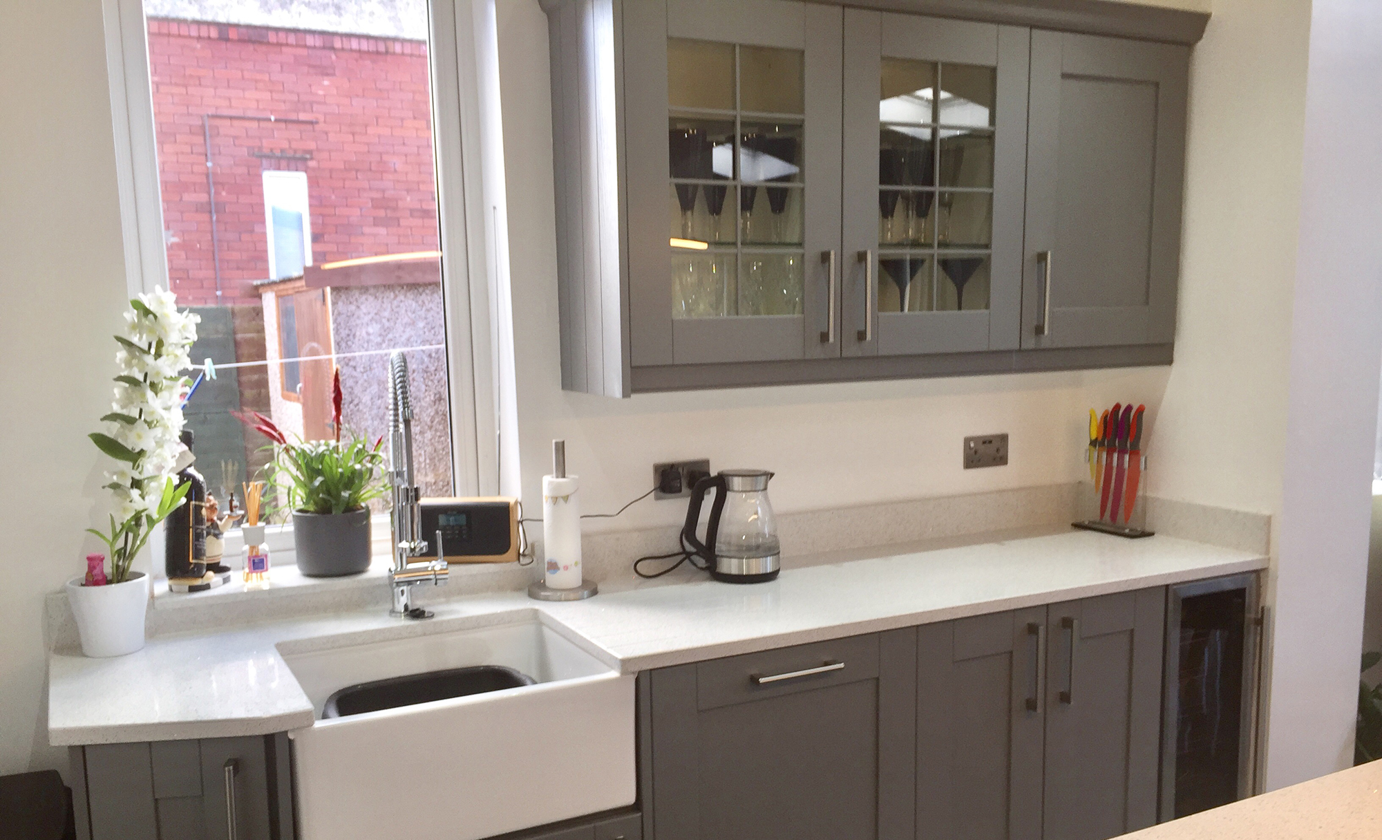 Madison Dust Grey Shaker Style Kitchen Featuring Georgian Glass Doors