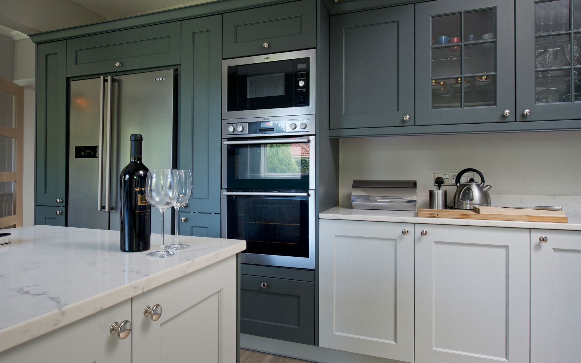 Wakefield Gun Metal Grey & Light Grey with Integrated Appliances & Island Unit